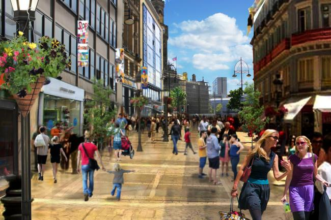 A vision of how a pedestrianised Market Street could look