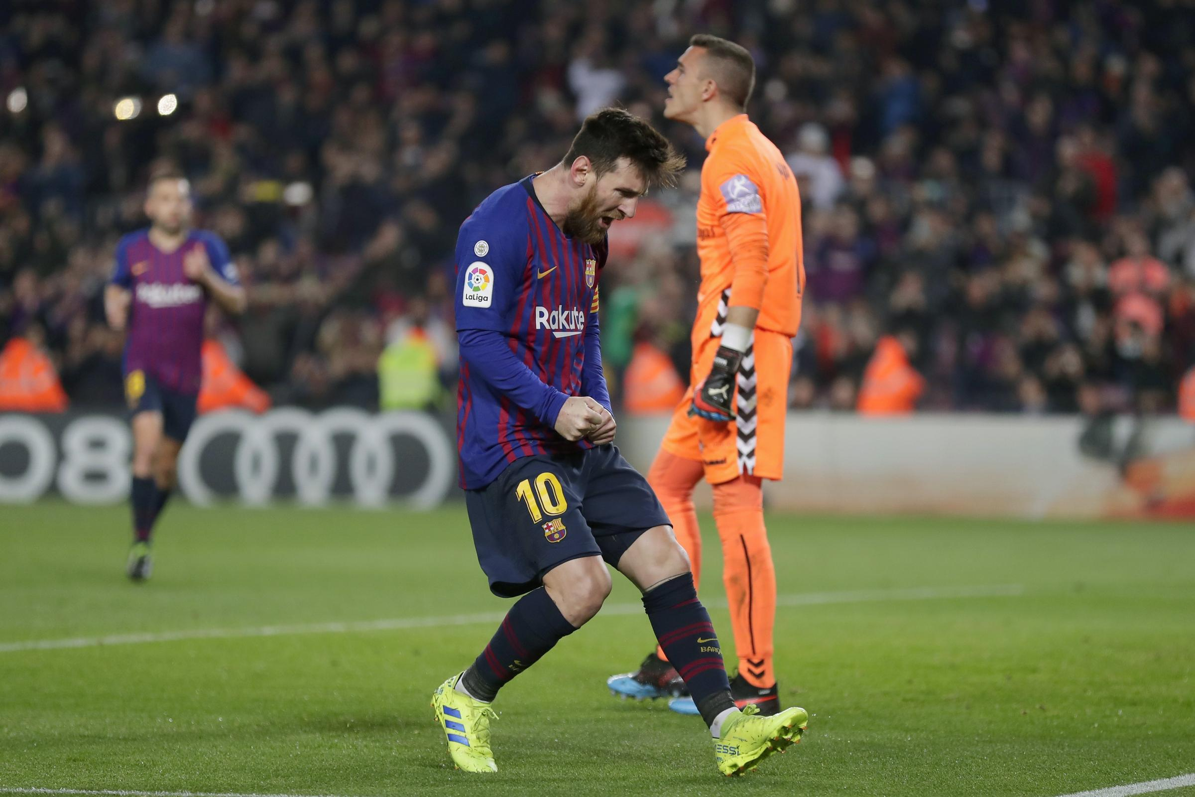Lionel Messi was on target from the penalty spot just before half-time