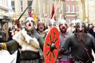 The finale of the festival with Vikings marching through York City centre.