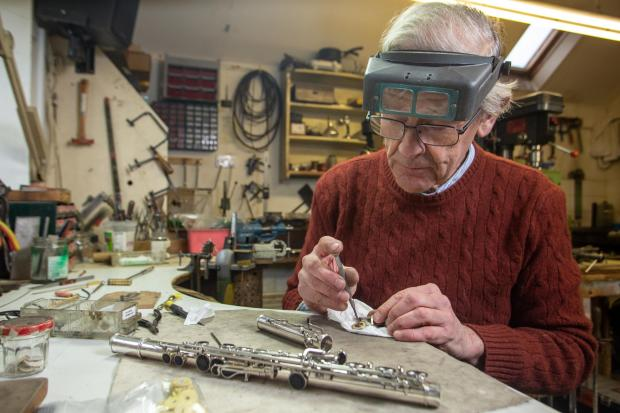 Bradford Telegraph and Argus: Stephen Wessel one of the last flute makers in the UK at his workshop in Alhampton, Shepton Mallet, Somerset.