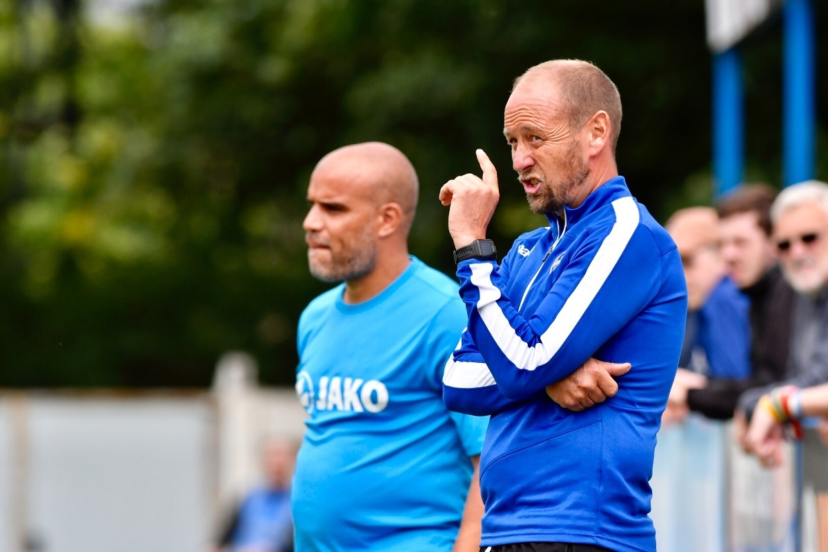 Guiseley joint managers Marcus Bignot, left, and Russ O'Neill were frustrated by the weather