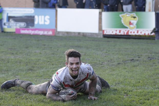 Jason Muranka scored a consolation 79th-minute try for Cougars at Oldham Roughyeds. Picture: Charlie Perry