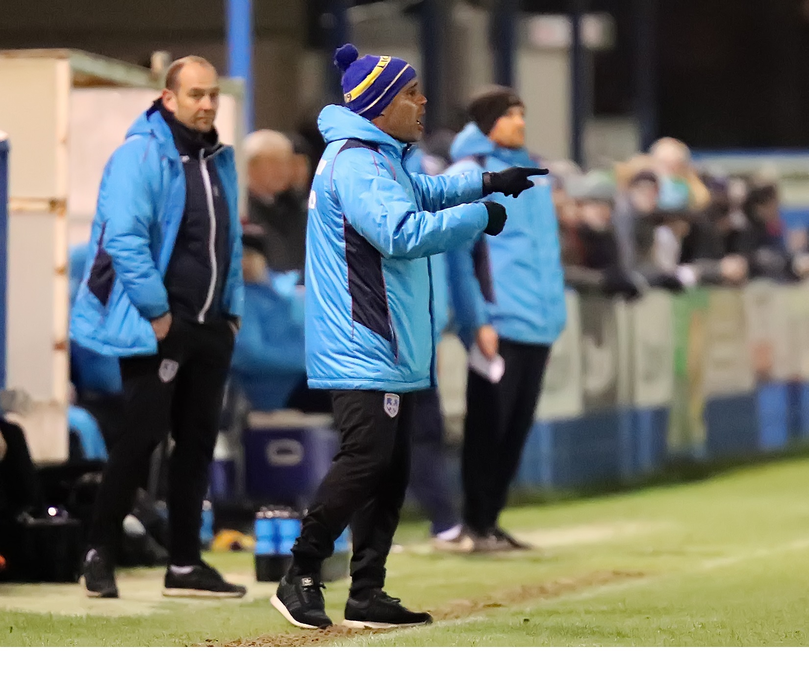 Guiseley joint managers Marcus Bignot, right, and Russ O'Neill on the sidelines during a recent match. Picture: Alex Daniel Photography.