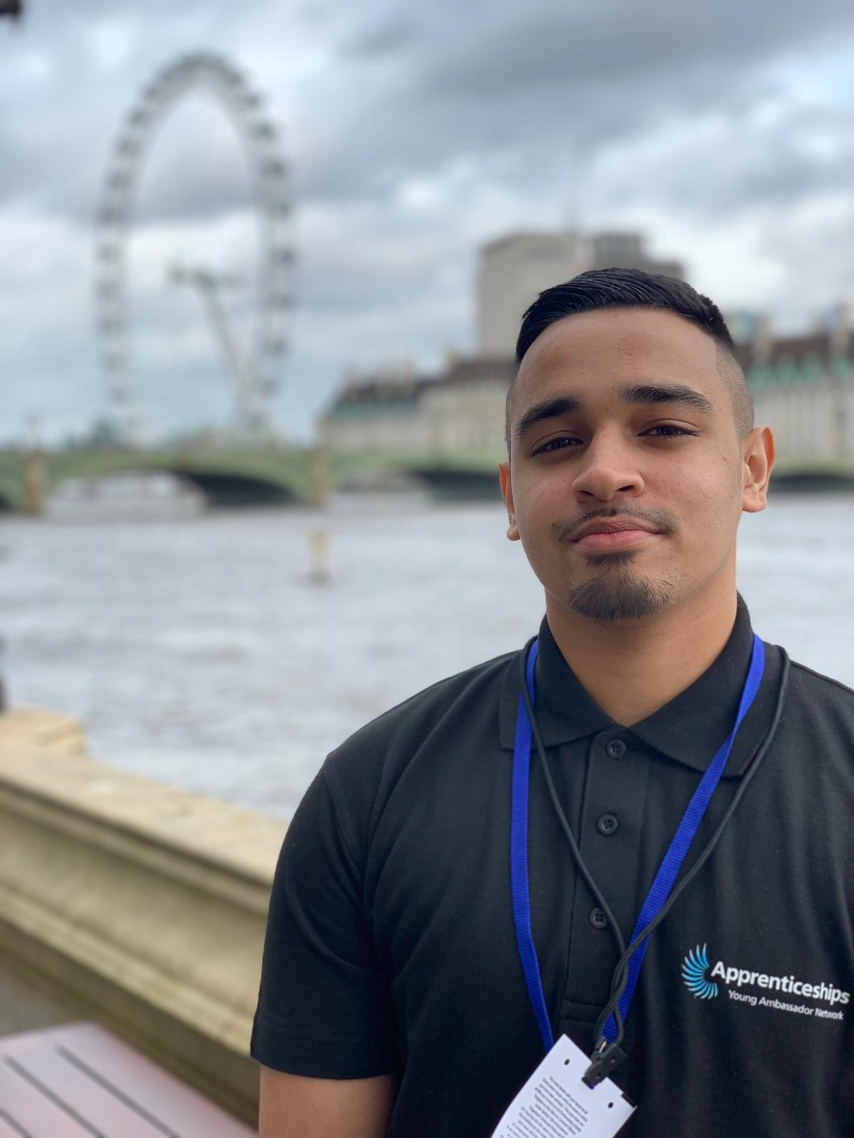 Muhammad Uddin by the River Thames on a visit to the Houses of Parliament last week for National Apprenticeship Week