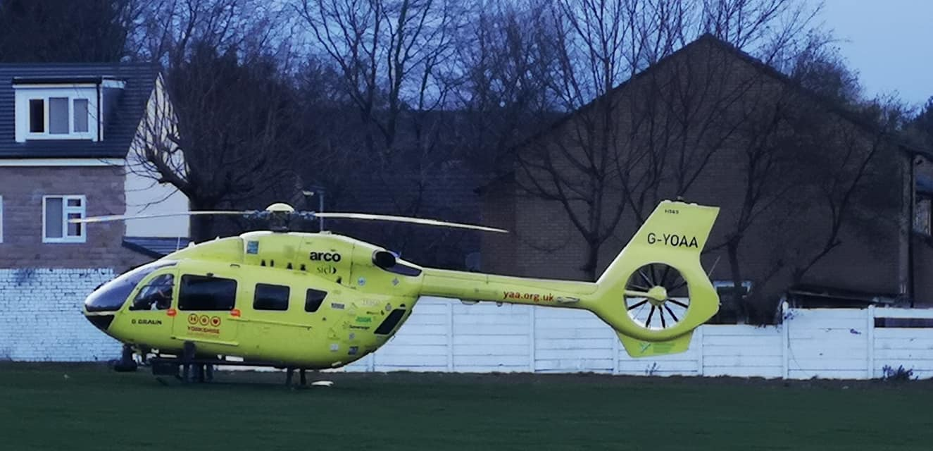 The Yorkshire Air Ambulance landed on the pitch at Bowling Old Lane Cricket Club in Birch Lane. Picture: Adam Percy/T&A Camera Club