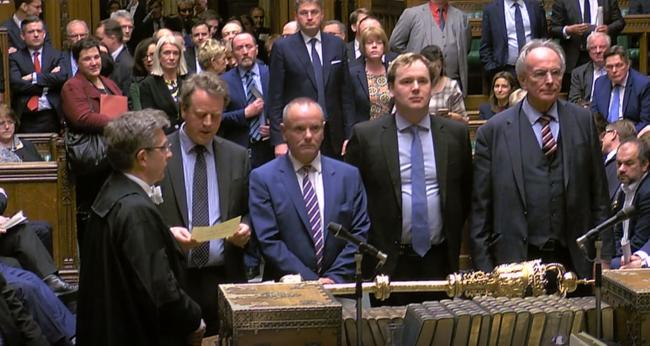 MPs announcing the result of the Brexit vote on Thursday, where the motion to allow the Prime Minister to request a one-off extension ending June 30 was passed by 413 votes to 202. Picture: House of Commons/PA Wire