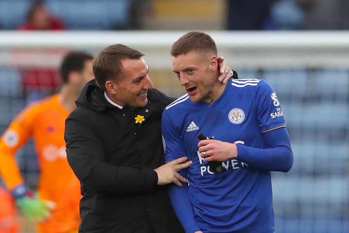 Brendan Rodgers, left, has backed Jamie Vardy to score a Premier League ton