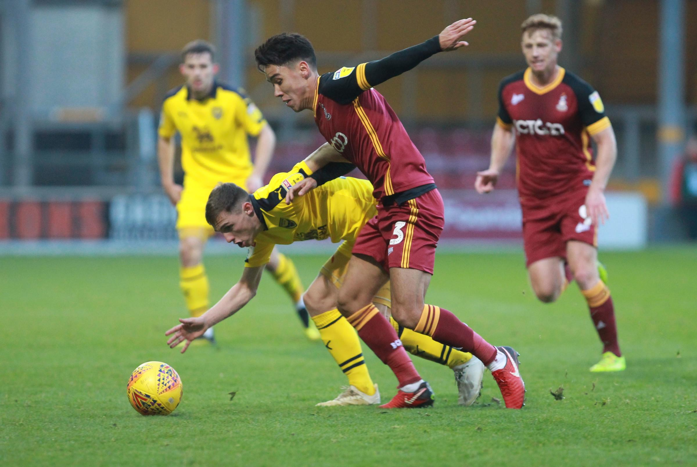 Bradford City in action against Oxford United earlier this season. Picture: Richard Parkes.