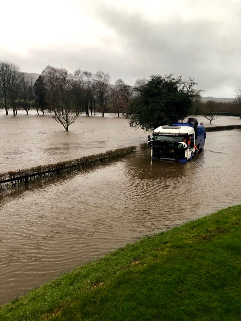 River Wharfe bursts its banks in Ilkley