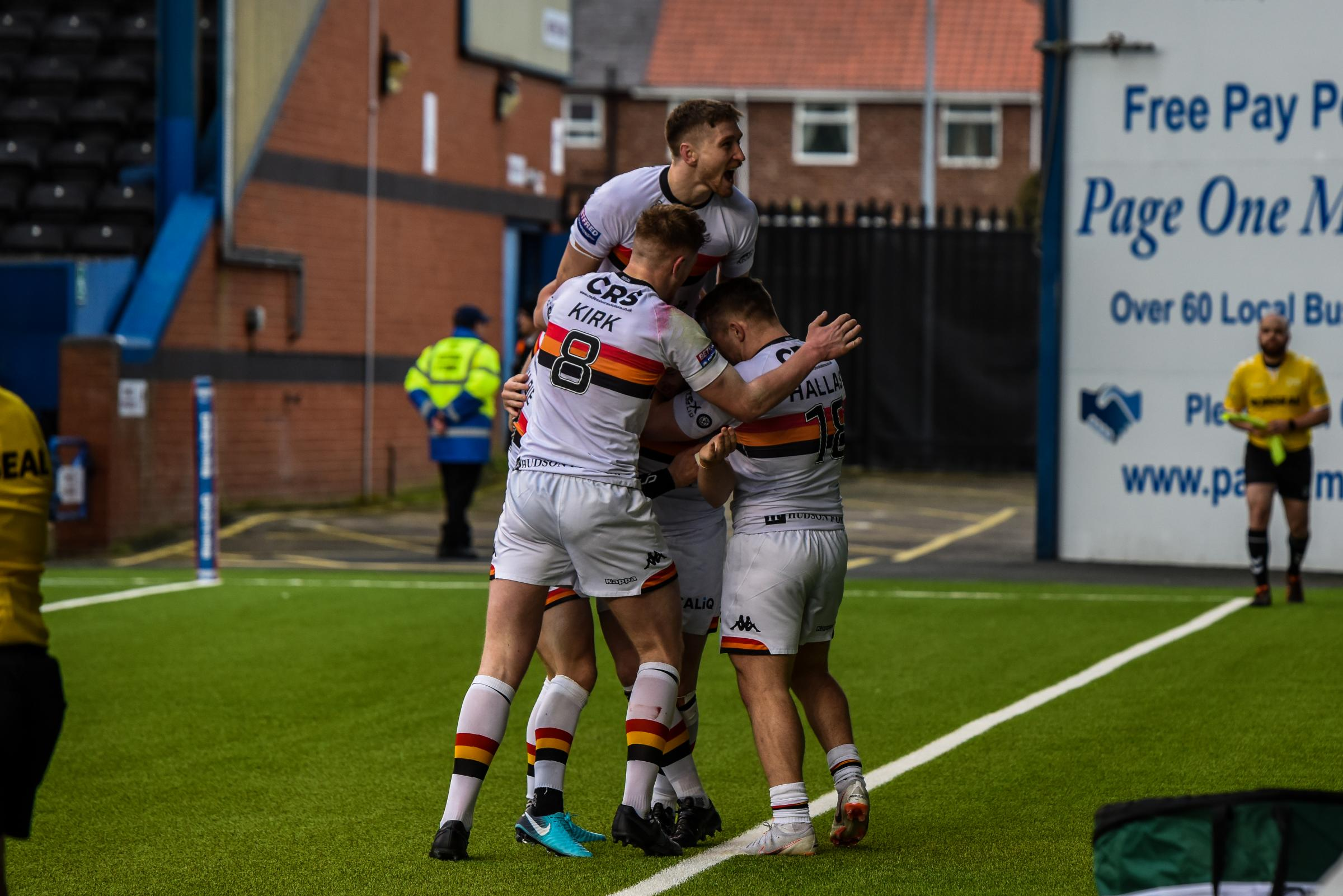 Bulls celebrate a try against Widnes  Picture: Tom Pearson
