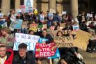 Ilkley Grammar School students joined the climate change protest in Leeds on Friday