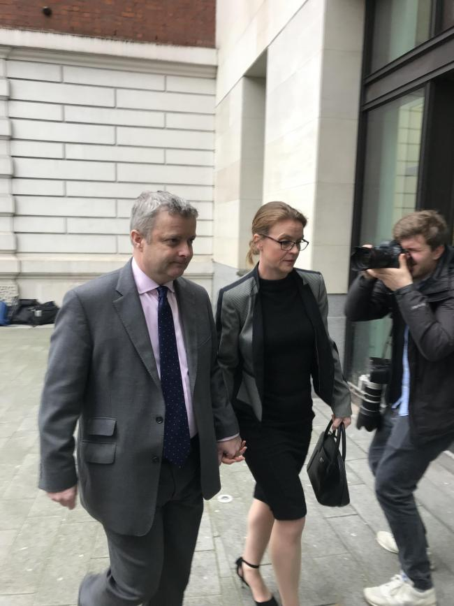 Tory MP Christopher Davies arrives at Westminster Magistrates' Court, in London, charged with two offences of making a false instrument and one offence of providing false or misleading information for allowance claims