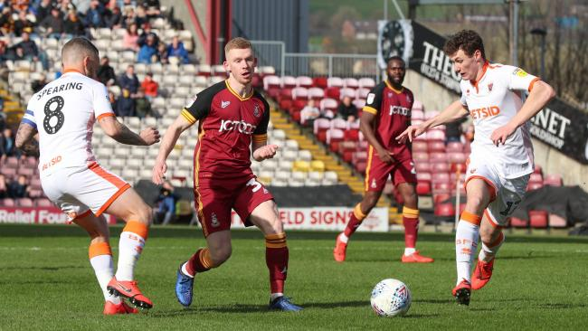 Lewis O'Brien in action on his return to the starting line-up against Blackpool   Picture: Thomas Gadd