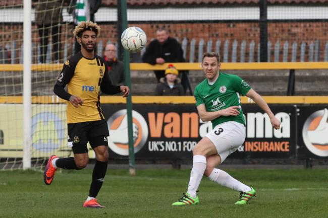 Nicky Clee clears for Bradford (Park Avenue) in their 2-2 draw at Southport. Picture: John Rhodes.