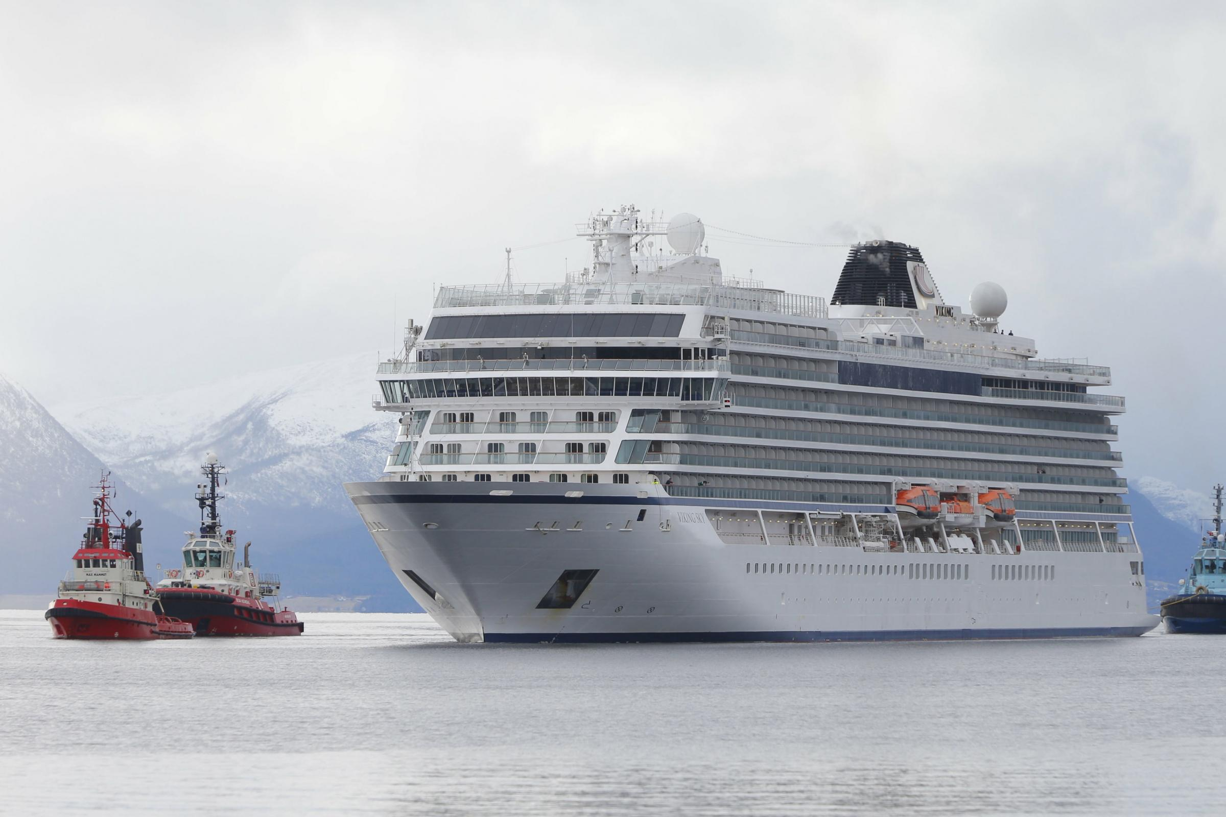 The cruise ship Viking Sky arrives at port off Molde, Norway