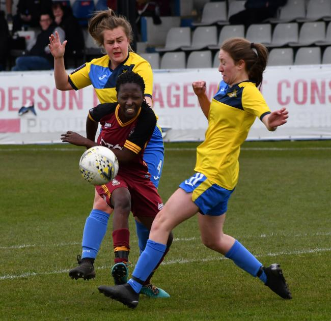 Falone Sumaili (centre) proved a bright spark for Bradford City Women when she came on as a late substitute Picture: Richard Leach