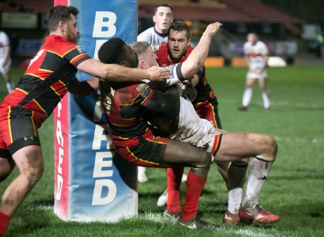 Action from the Bulls' pre-season clash with Dewsbury