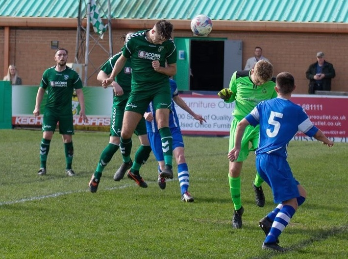 Ben Clarkson makes it 3-1 to Steeton in their eventual 6-1 victory over Daisy Hill in Hallmark Security League Division One North at Cougar Park on Saturday. Picture: Charlie Perry