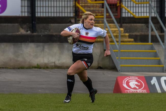 Amy Hardcastle scored five tries for Bulls in their 56-0 win over RAF Women in the Challenge Cup.  Picture: Tom Pearson