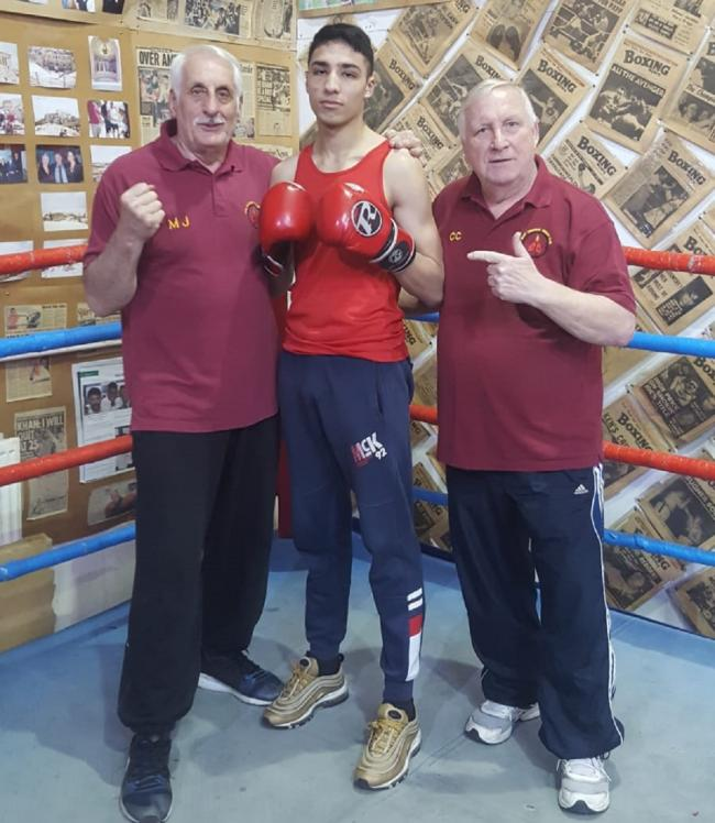 Keighley boxer Muhammed Ibrahim Nadim with his trainers at Bury ABC, Mick Jelley, left, and Colin Carr