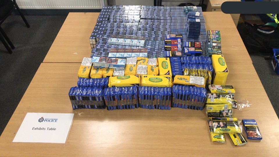 It was quite the haul of cigarettes and tobacco for these two PCSO's on foot patrols Picture: West Yorkshire Police - Keighley