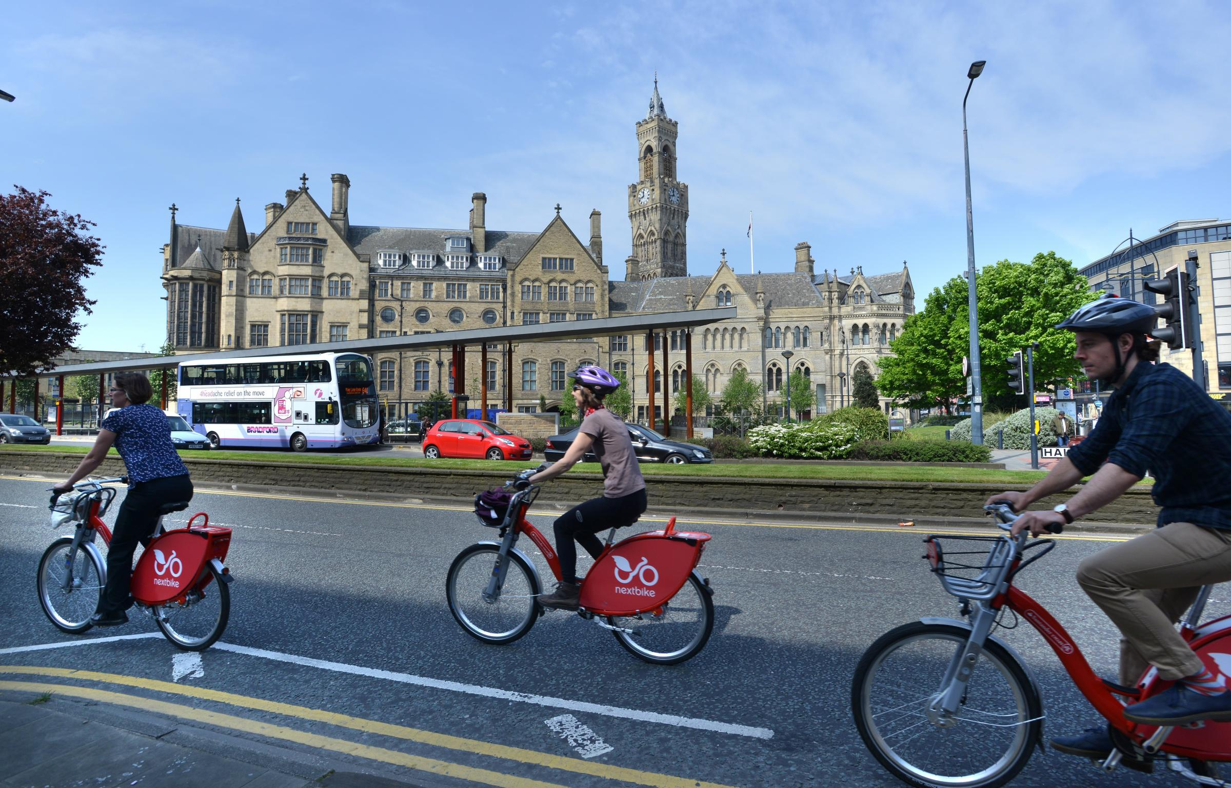 Cyclists in Bradford city at the start of a Cycle City conference at National Media Museum.