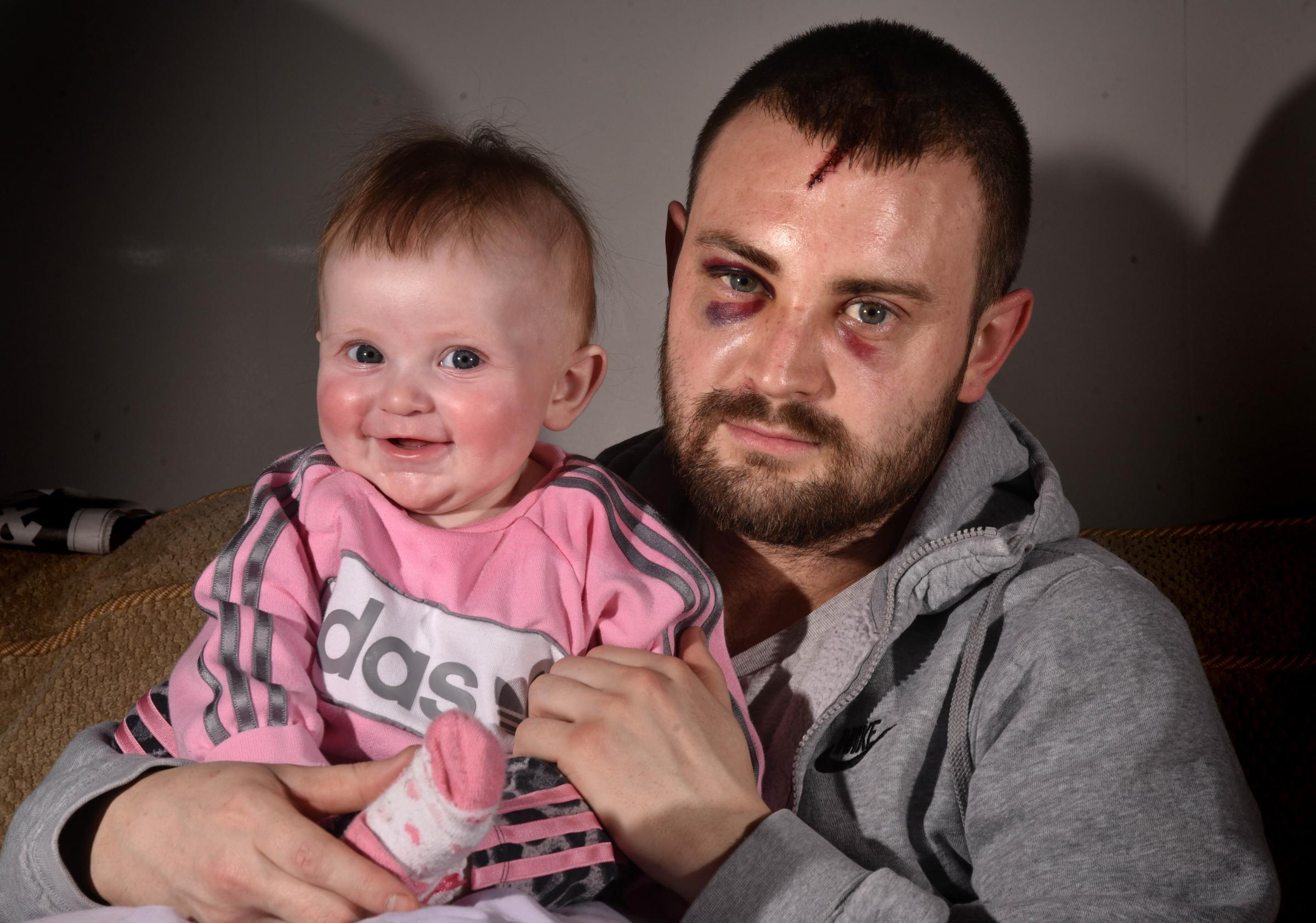 Jay Bailes was with his partner and six-month-old daughter Izabella (pictured) when he was attacked