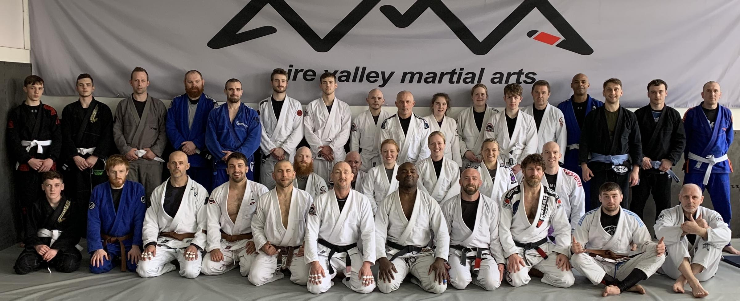 Aire Valley Martial Arts line up after hosting multiple-time World Brazilian Jiu Jitsu champion Leo Negao for a grading and seminar.