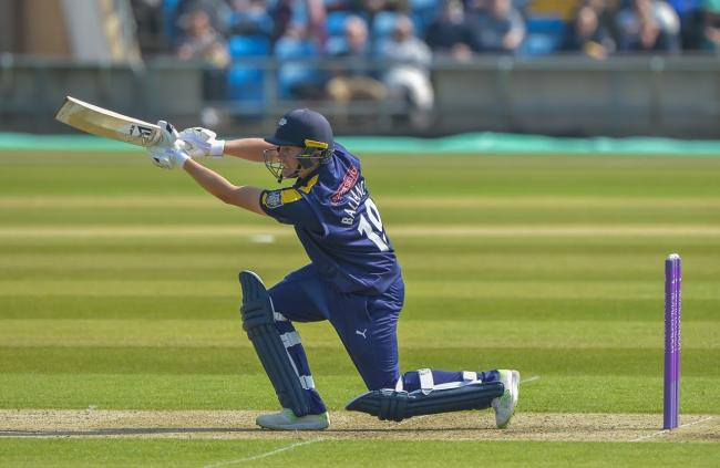 Gary Ballance on his way to a career-best century against Leicestershire  Picture: Ray Spencer
