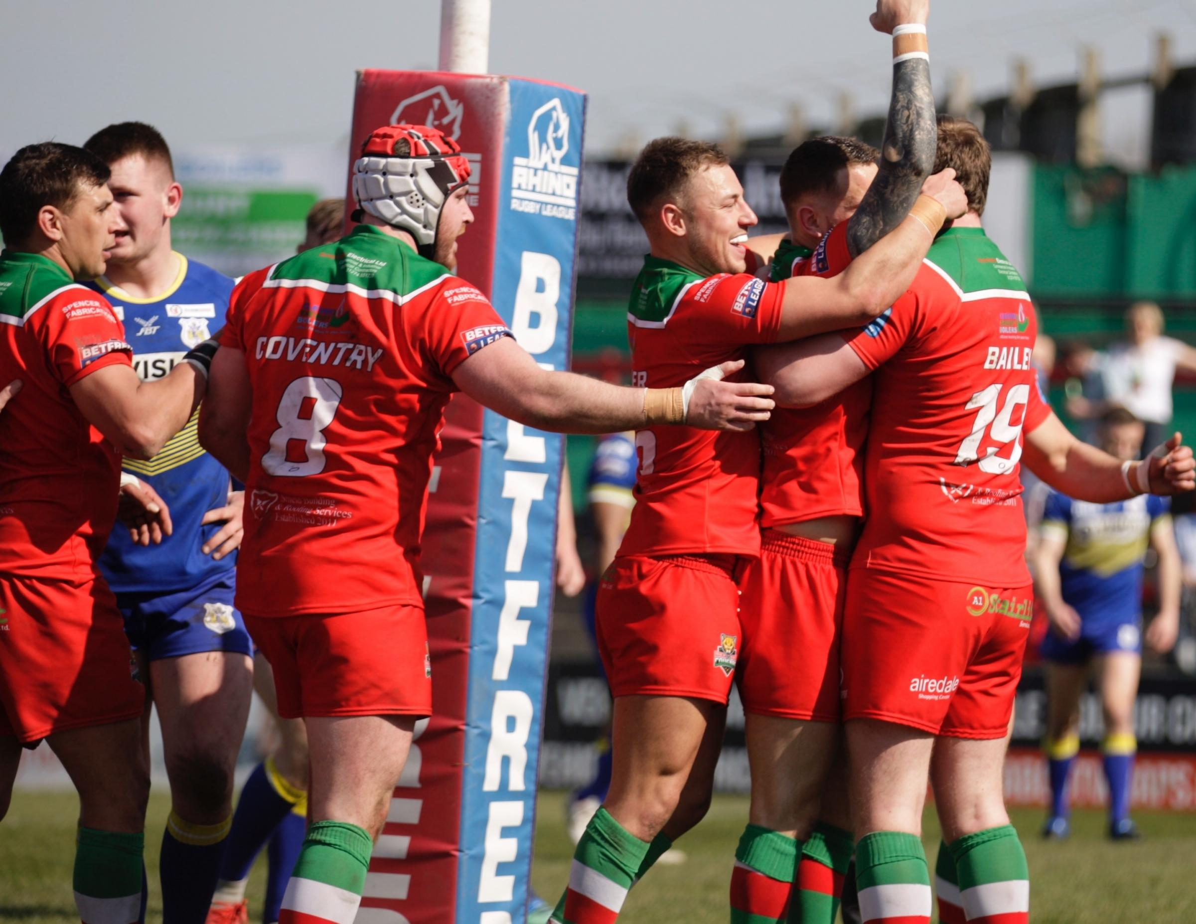 Benn Hardcastle celebrates his first try for Keighley Cougars against Doncaster. Picture: Charlie Perry
