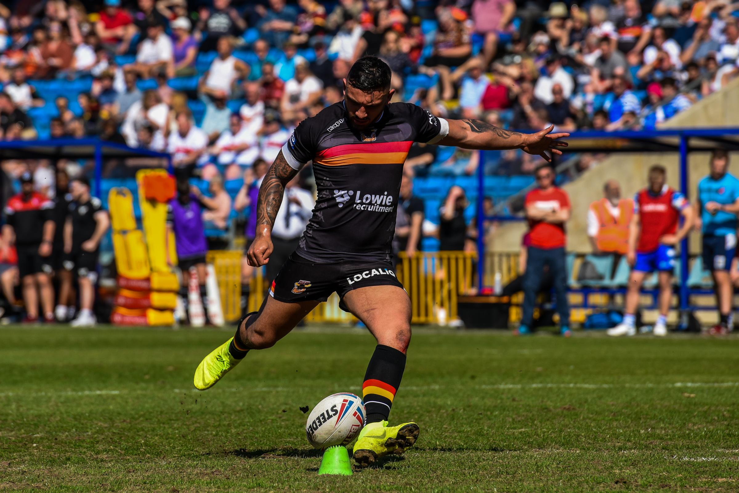 Elliot Minchella scored a try in Bradford Bulls' 33-26 win at Halifax. Picture: Tom Pearson
