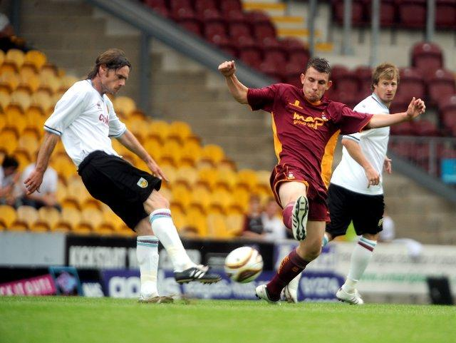 James O'Brien was on target in his first game on trial with the Bantams against Burnley at Valley Parade