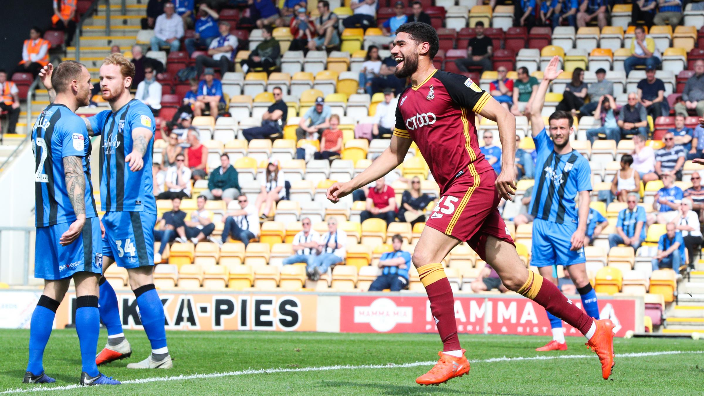 Kelvin Mellor celebrates his goal in City's 1-1 draw with Gillingham at Valley Parade yesterday. Picture: Thomas Gadd