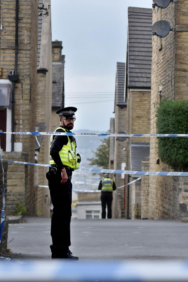 Police put a cordon in place after the death in Sandford Road, Bradford Moor