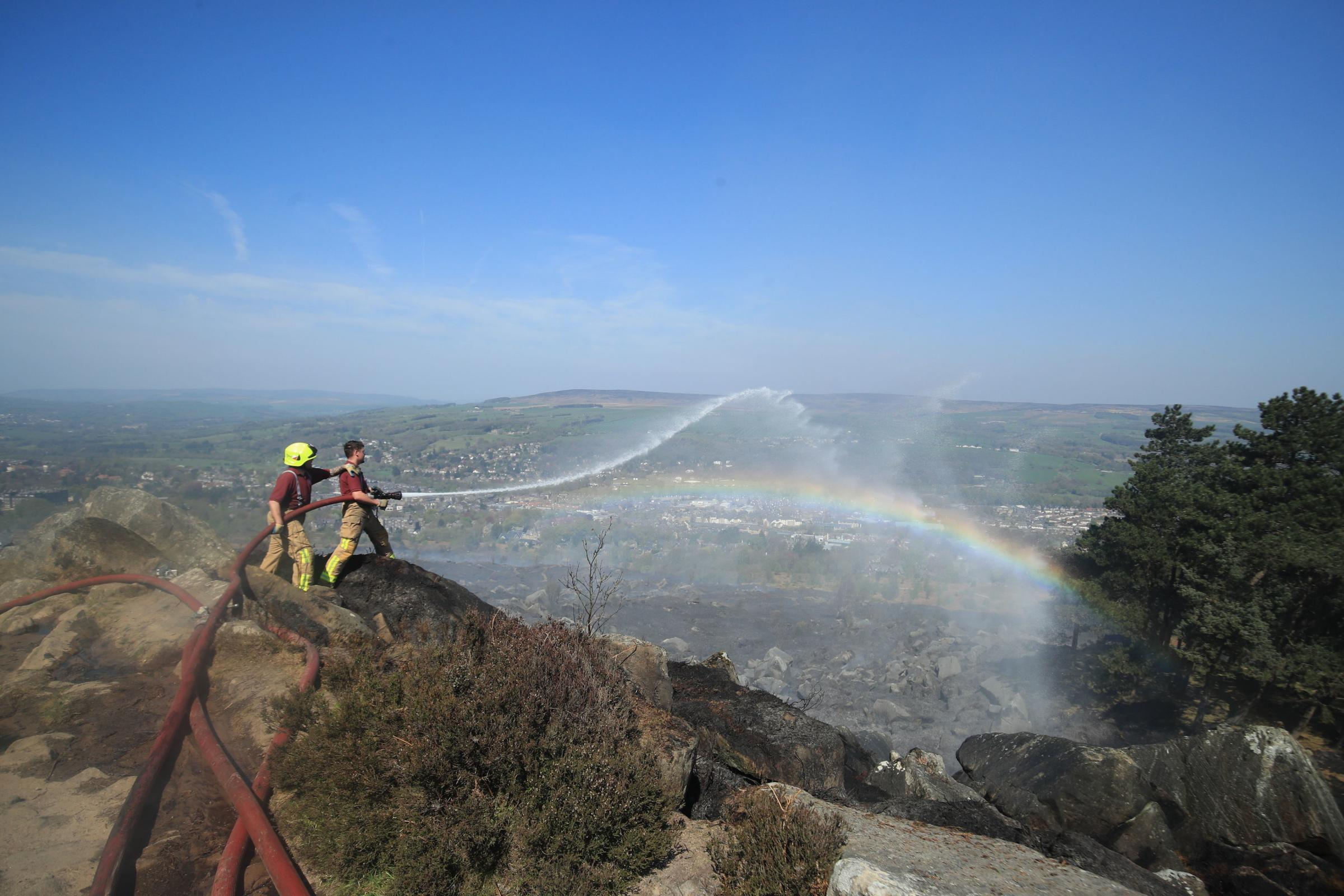 Firefighters tackle the Ilkley Moor over the Easter weekend. Photograph: Danny Lawson/PA Wire.