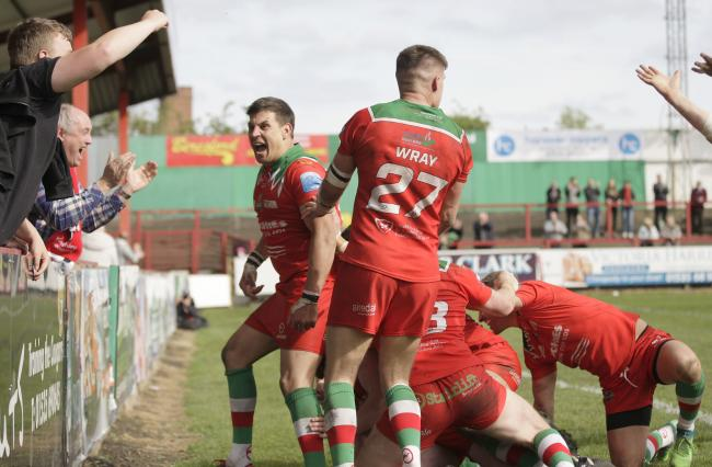 James Feather, left, said he loves being part of the Cougars playing group at the moment, but feels his body is not capable of Championship rugby if his side do get promoted at the end of the season Picture: Charlie Perry