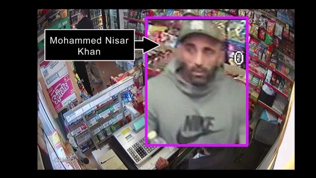 A video still showing Mohammed Nisar Khan in the Whitehall Road service station