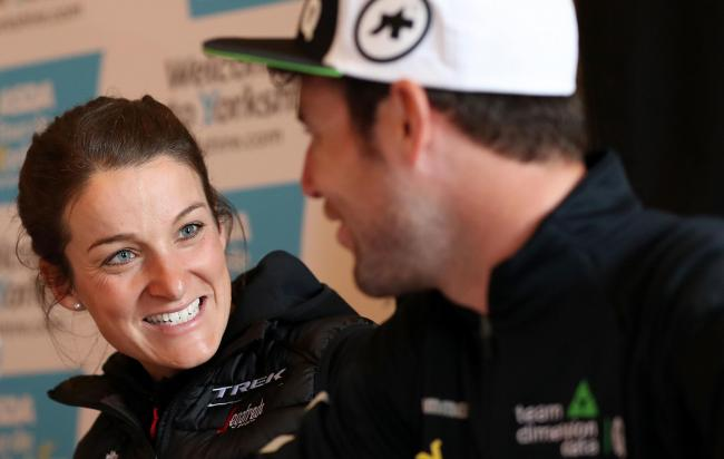 Otley rider Lizzie Deignan talks with Mark Cavendish during Wednesday's press conference at Leeds Civic Hall   Picture: Martin Rickett/PA Wire