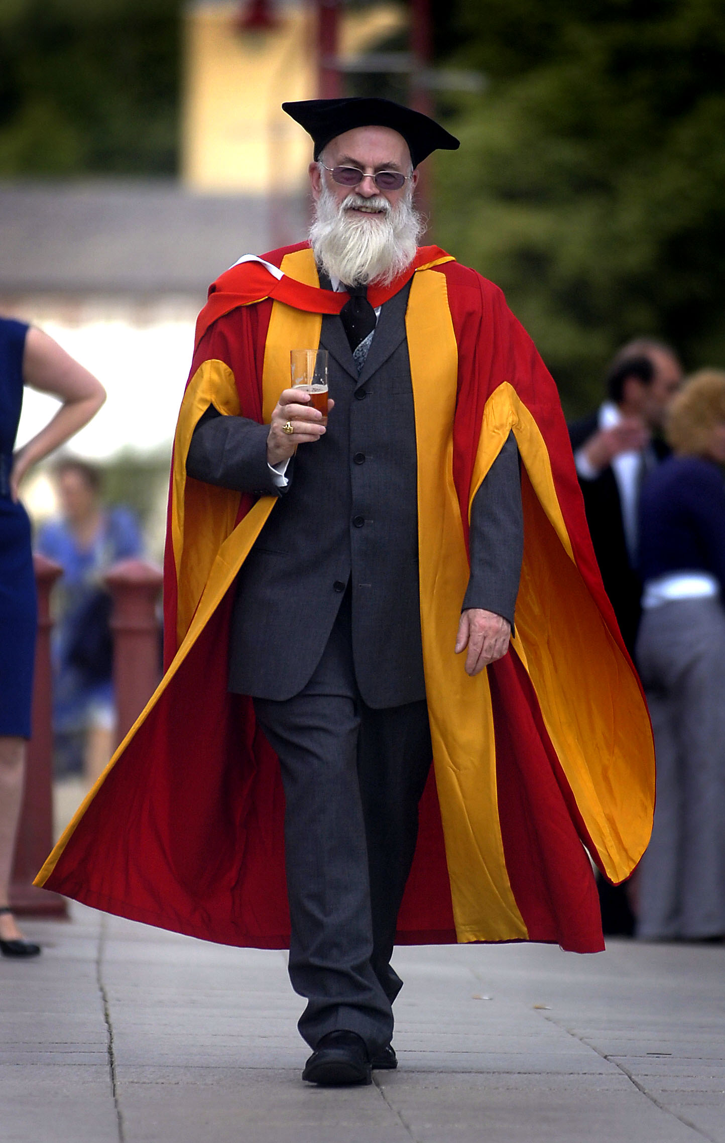 Author Terry Pratchett at his honorary degree ceremony in Bradford today