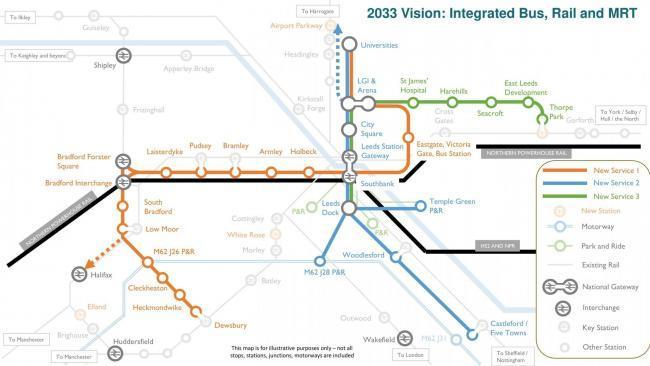 A map of the proposed mass transit plan for West Yorkshire