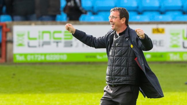 Gary Bowyer enjoys last week's win at Scunthorpe but he is already busy preparing for next season. Pic: Thomas Gadd