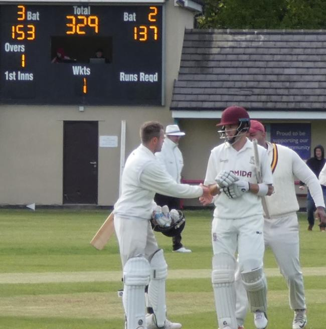 Tim Jackson (left) and Brad Schmulian after putting on a record-breaking partnership of 326 earlier in the season Picture: Stuart Tordoff