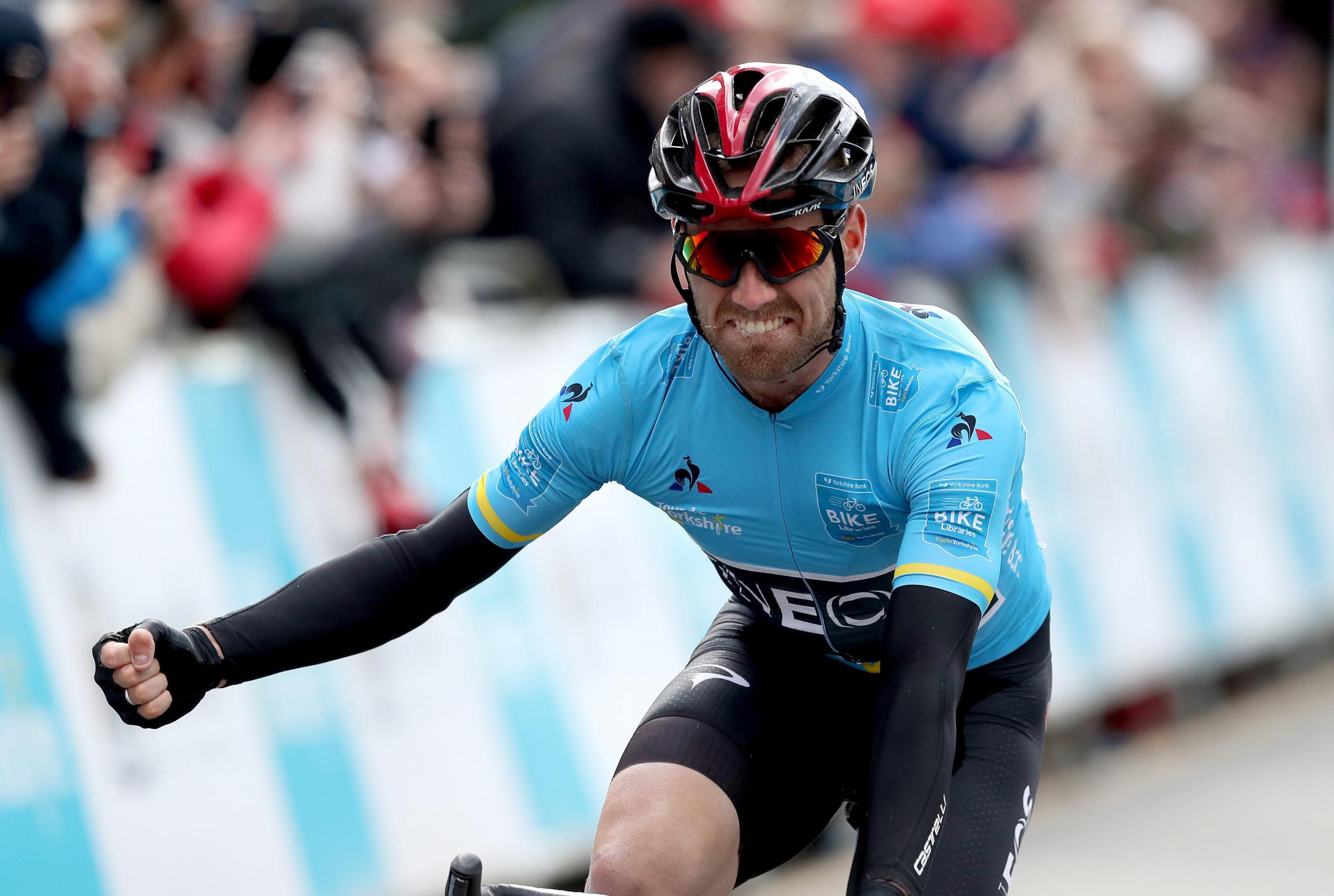Team Ineos' Chris Lawless celebrates winning the Tour de Yorkshire
