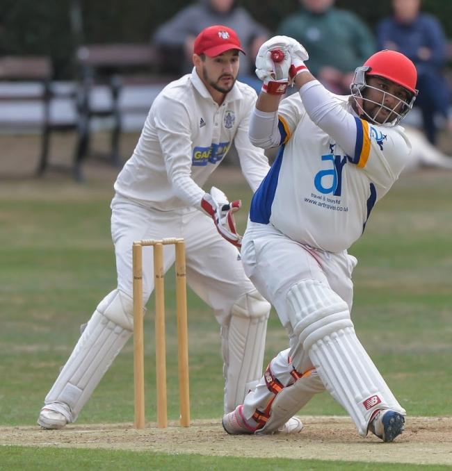 Farakh Hussain hit 93 in vain for Bowling Old Lane, who lost to Carlton    Picture: Ray Spencer