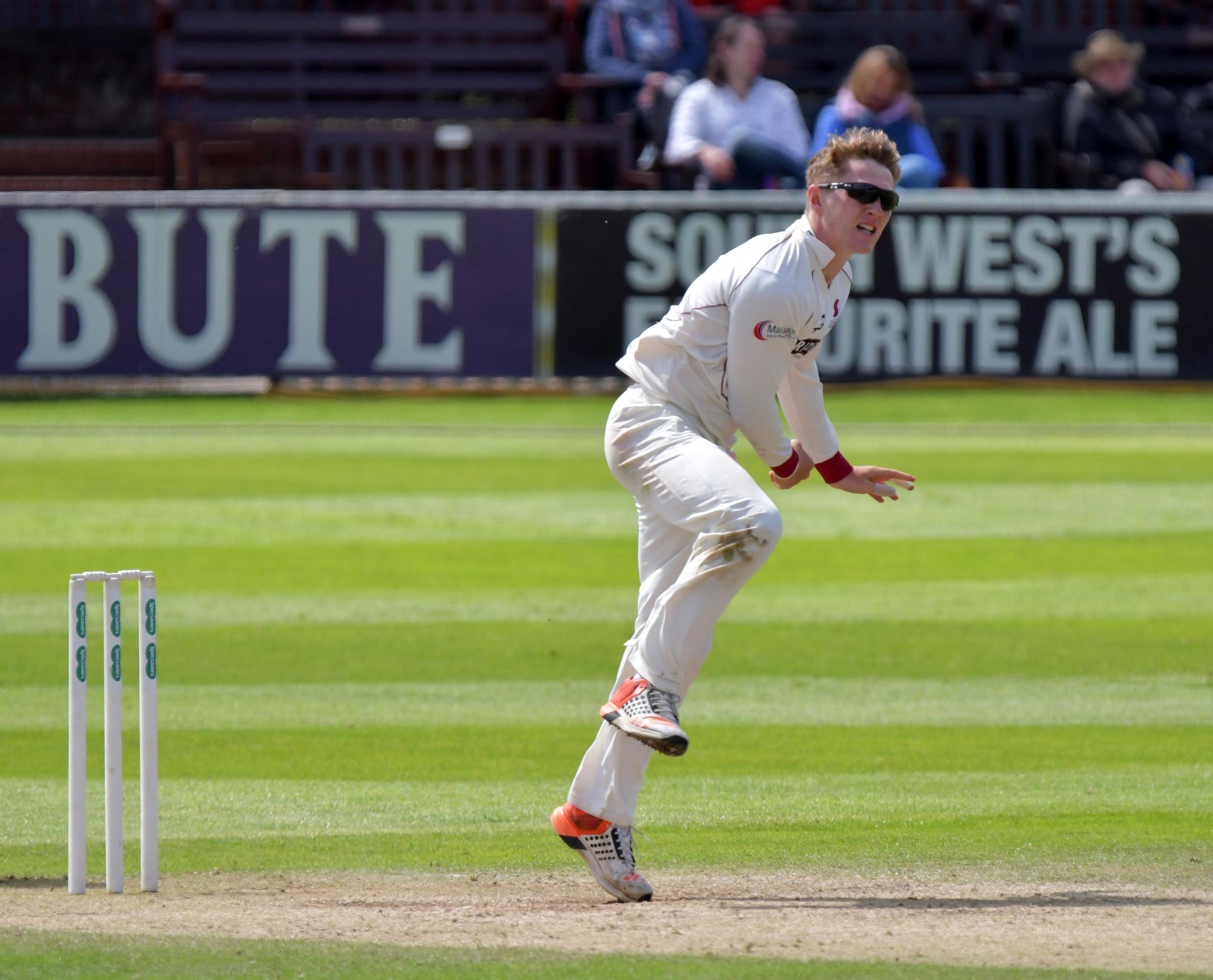 NEW RECRUIT: Dom Bess, pictured in action for Somerset against Hampshire, has joined Yorkshire on loan