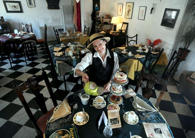 Sarah Wilson-Flemming in her Twenties style tea rooms