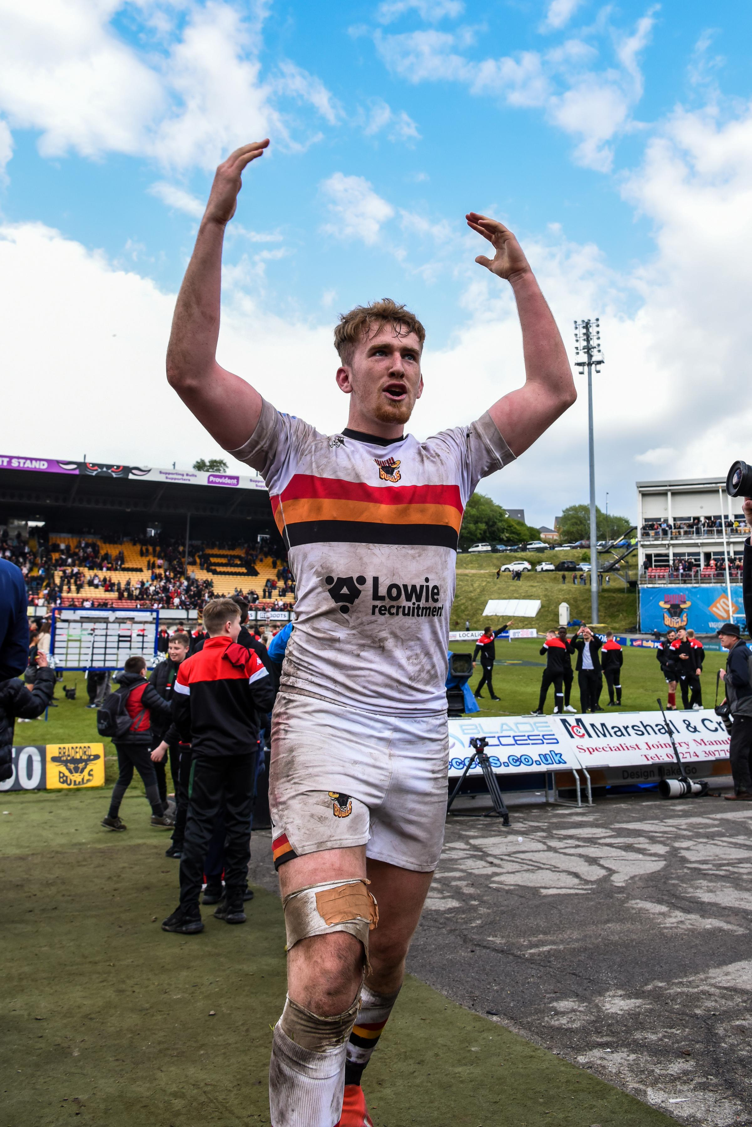 Rowan Milnes was celebrating after his kicking guided Bulls to a 24-22 victory over Leeds Rhinos at Odsal in the Coral Challenge Cup sixth round   Picture: Tom Pearson