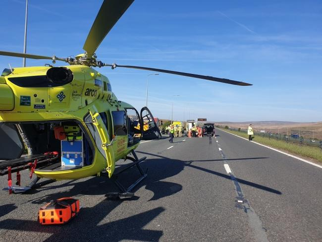 The air ambulance was on the scene after a two car collision on the M62 this morning Picture: WYP Roads Policing Unit