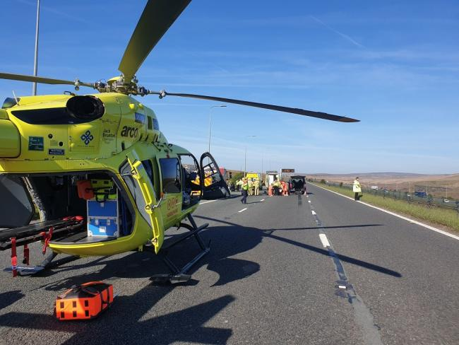 The air ambulance landed at the scene. Picture: West Yorkshire Police's Roads Policing Unit