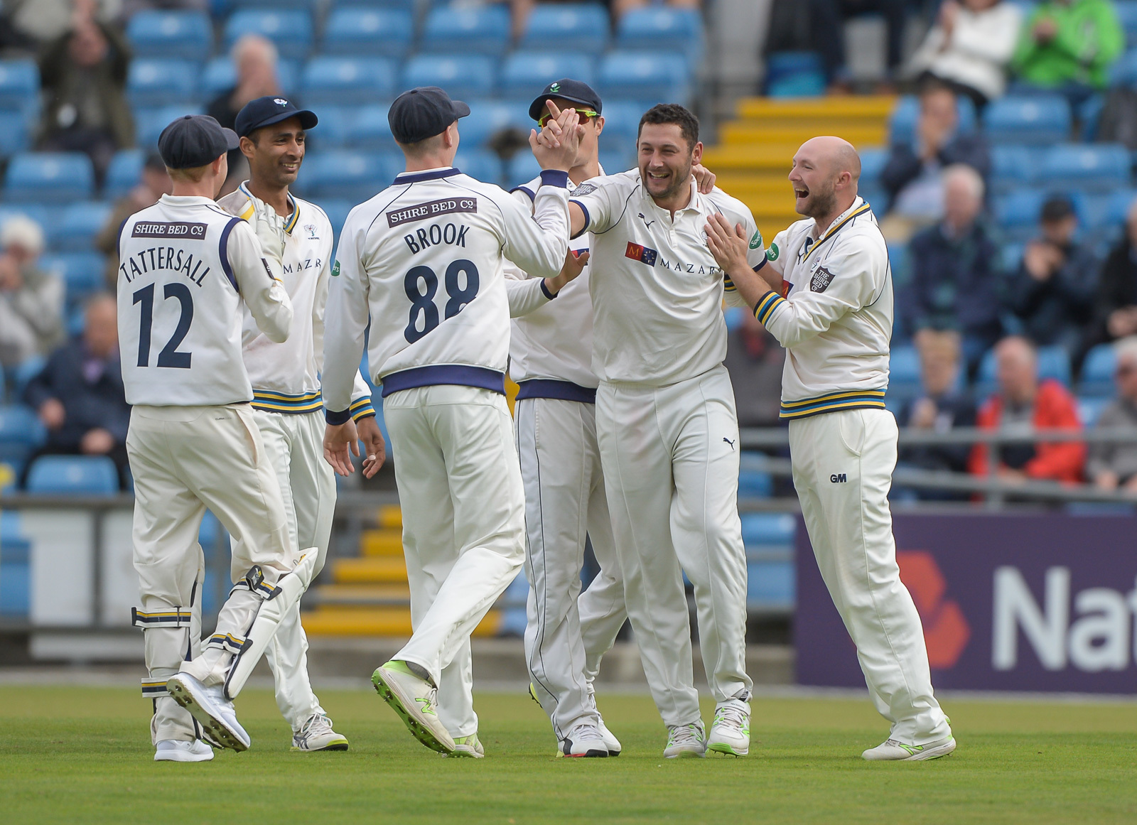 Tim Bresnan, second from right, produced a fine spell in his first Championship appearance of the season  Picture: RAY SPENCER